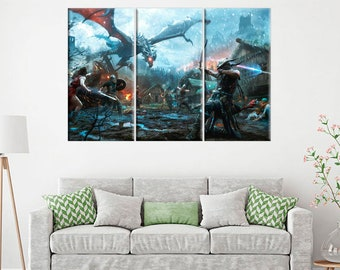 The Elder Scrolls V Skyrim Dragonborn Video Game Art 5 Panel Canvas Set Geek Art Gift for Boyfriend Skyrim Wall Art Skyrim Canvas Game Decor