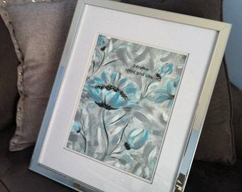 Relax and Unwind Blue Bathroom Decor, Blue Abstract Bathroom Wall Art, Framed Floral Wall Art, Blue Floral Wall Art, Framed Floral Art