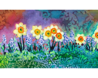 A Tapestry of Spring - ORIGINAL Floral Painting, 12x36 by JENLO