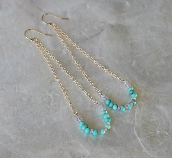Summer Swing Earrings in Chrysoprase Zircon and 14k Gold Filled
