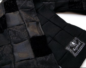 Abyss Black Wool Brocade and Velvet Patchwork Scarf by Kambriel - hand-made with 150 pieces of fabric! - One of a Kind Shawl & Ready to Ship