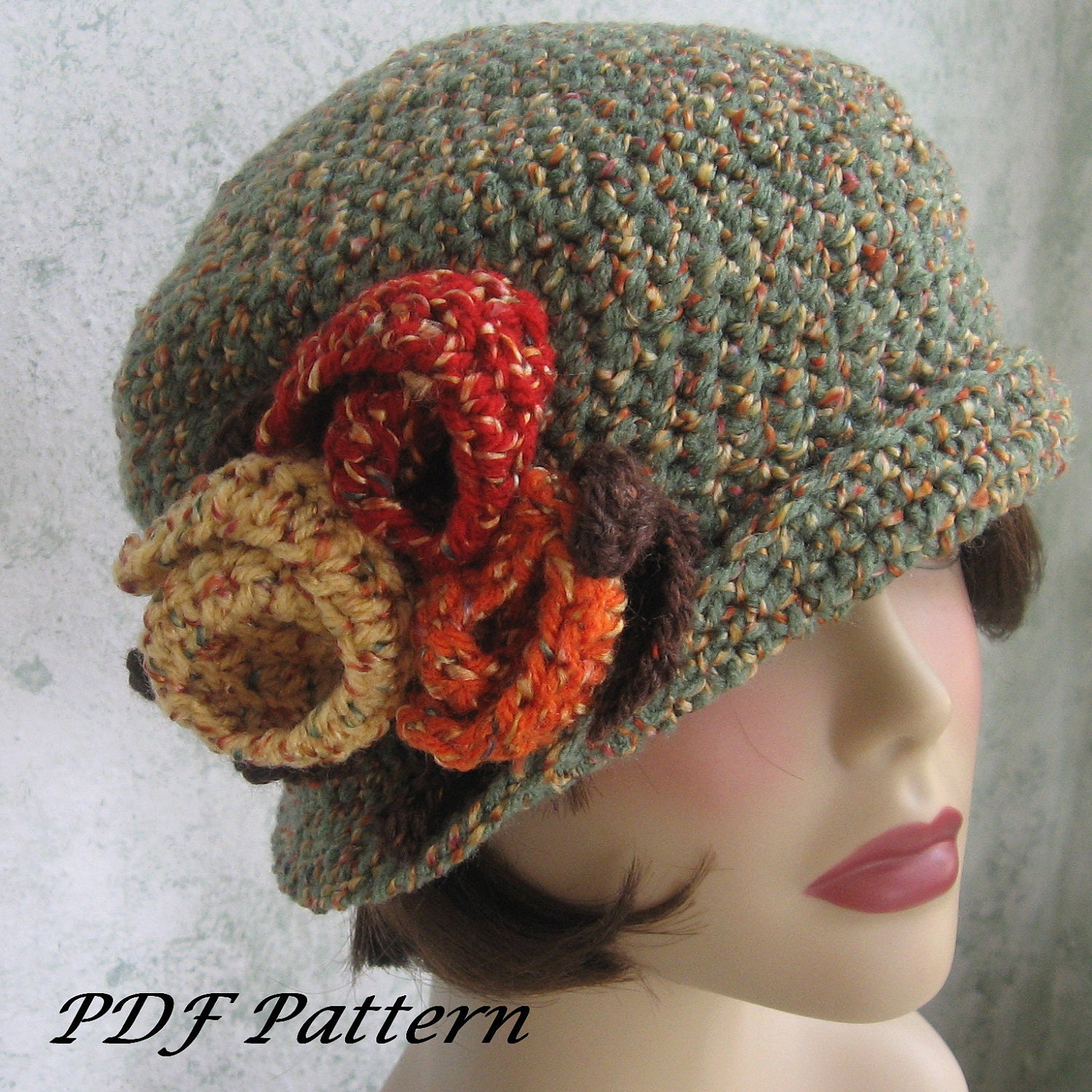 Crochet Pattern Womens Flapper Hat Downton Abbey Style With Large ...