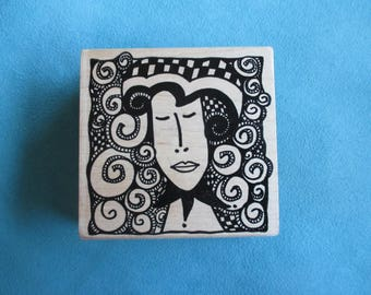 Magenta - Woman with Swirls - Rubber Stamp