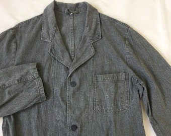 Size S — 40s French Black Chambray Salt and Pepper Atelier Coat Vintage Workwear Rare