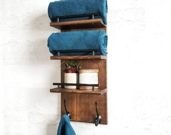 Floating Shelf Organizer || 3 Tier Bathroom Shelf, Towel Rack, Entryway Organizer, Bathroom Organizer, Towel Holder, Bathroom Shelf