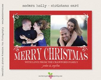 Modern Holly- Christmas Card