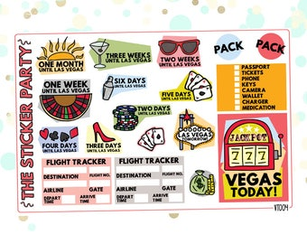 Casino Vacation Las Vegas COUNTDOWN Planner Stickers