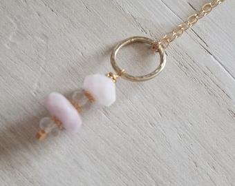 June Birthstone Necklace ~Morganite Necklace~ Natural Morganite Stone Necklace~ Gold Necklaces~ June Birthstone Necklace~ Gifts for Mom