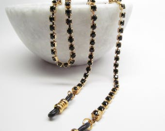 Glasses Chain in Jet Black Swarovski Crystal; Gold Eyeglass Chain; Chain for Readers; Glasses Necklace Holder; Glasses Leash Cord