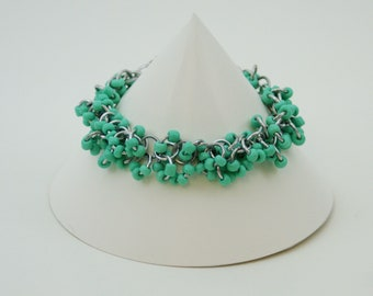 Shaggy Loops Turquoise Glass Beads Chainmaille Bracelet