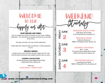 DIY Wedding Typography Welcome Bag Note, Welcome Bag Letter, Printable  Itinerary, Wedding Itinerary