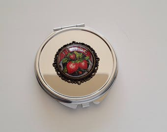 Strawberry mirror glass cabochon