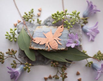 Handmade Etched Copper Bumble Bee Necklace