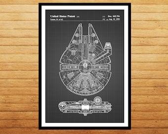 Star Wars patent, Millennium Falcon Star Wars Poster, Millennium Falcon Star Wars Patent, Star Wars patent Print, Millennium Falcon, patent
