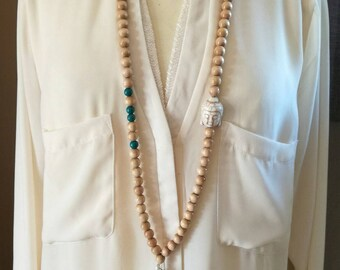 Solo Buddha wood beads necklace