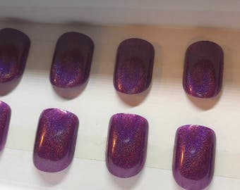 Purple Holo  Fake Nails | Press On | Glue On Nails | Different Shapes