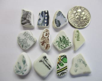 BEACH SEA POTTERY Shards 11 Teal Green Blue Black Brown Writing Patterns Real Surf Tumbled Natural Unaltered Undrilled Jewelry Beads  U 739