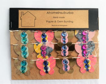 Pink and Gold Butterfly garland