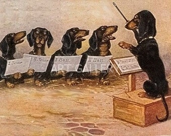 DACHSHUNDS Singing in a Quartet CHOIR Vintage Image Art MAGNET Doxies Weiner Teckel Sausage Dog