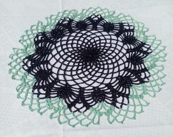 New black-turquoise crochet doily - black doily - turquoise doily