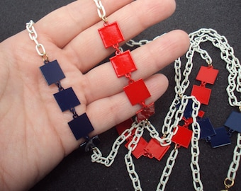 """50"""" Red, White, & Blue Enamel Long Chain Necklace 1960s Enameled Long Necklace"""