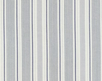 Waxed canvas has fine gray and Navy vertical stripes on cream white
