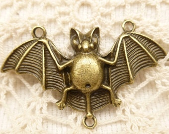 Large Bat Connector Pendant, Antique Bronze (2)