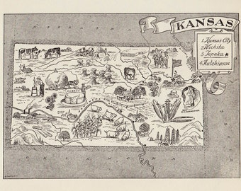 50's Vintage KANSAS Picture Map State Map Print Black and White Gallery Wall Art Decor Housewarming Wedding Birthday Gift for Friend