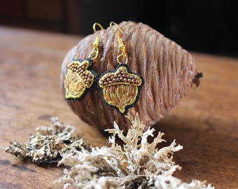 Embroidered Acorns earrings, handmade and one of a kind!