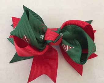 """Red and Green Christmas Hair Bow on Hair Clip 3 1/2"""""""