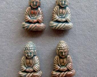 Small Ceramic Raku Buddha Pendants, 4 Pieces, Tiny Buddha