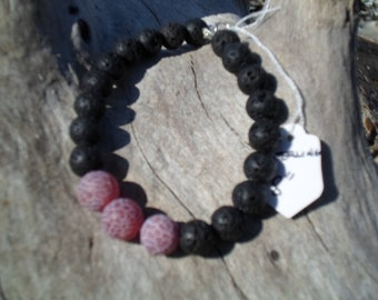 Frosted agate and lava bead bracelet s/s