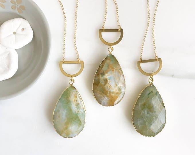 Long Stone Necklace. Long Boho Necklace. Long Gold Green Necklace. Ocean Jasper Stone Necklace. Unique Jewelry. Christmas Gift. Pendant.