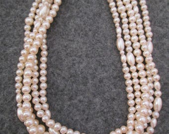 Beautiful 5 Strand Set of PEARLS> Various Shapes> Vintage 1960's, new old stock