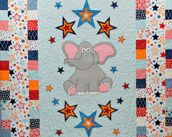 Elephant and stars applique baby boy or girl quilt PDF pattern; easy whimsical nursery digital download quilt pattern; Ms P Designs USA