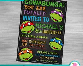 Ninja Turtles Invitation,  Turtles Invitation, Teenage Mutant Ninja Turtles Invitation, TMNT Invitation,  DIY Ninja Turtles Invitation