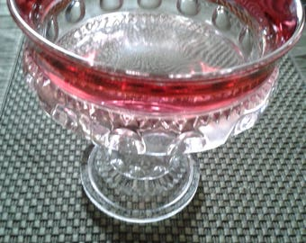 Vintage red-rimmed glass pedestal dish