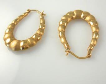 Hoop Earrings 14K Yellow Gold Hoop Earrings Shell Earrings
