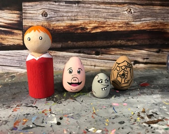 Wooden Peg People Inspired by Charlotte's Web