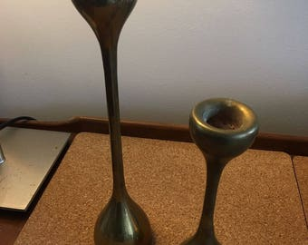 Mid Century Modern MCM Mod Solid Brass 1960s Candle Sticks India