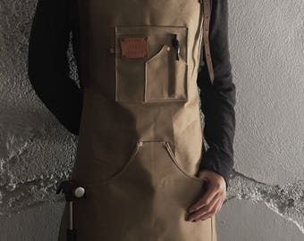 Waxed canvas apron, shop apron, carpenter apron