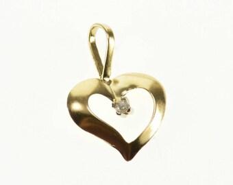 14k Cubic Zirconia Inset Wavy Curvy Heart Pendant Gold
