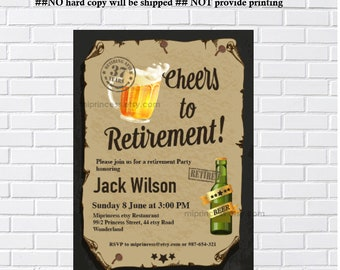 Retirement, Beer party, retirement Invitation, Beers, Retired  Invitations, Retirement party Invitation, Retirement Celebration  - card 1310
