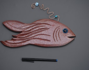 Carved wood fish with copper wire and bead accents home decor