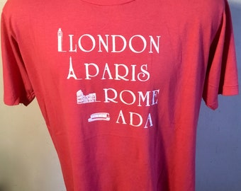 "Cool ""London, Paris, Rome, Ada"" Euro Vacation Shirt, Men's Size XL, Great Shape Nice Red & White,50/50 Poly Cotton Blend,Perfect For Summer!"