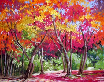 Acers in Autumn mounted print of an original pastel painting by Tracy Butler
