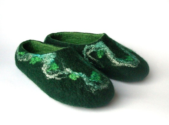 gift shoes green slippers slippers slippers wool Valentine Felted wool felt wool men slippers handmade slippers women house slippers day FUcRZW0
