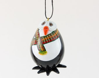 Penguin Ornament - Plaid Scarf - Penguin Gift - Handmade Penguin - Penguin Gift - Gourd Art - Hand painted Gourd - Penguin Collection