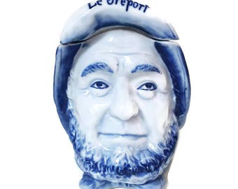 "vintage french  porcelain jewelry box, old sailor shaped, porcelain trinket box, ""Le Tréport"" souvenir"