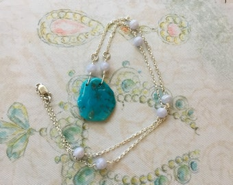 Turquoise, Blue Lace Agate and Sterling Silver Necklace - Free U.S. Shipping